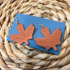 Fall leaf clay earrings